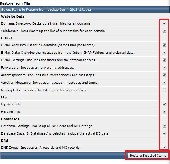 Phục hồi dữ liệu website sử dụng directadmin