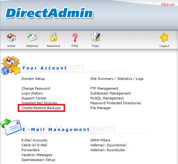 Backup và restore website sử dụng DirectAdmin